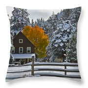 Snowed In At The Ranch Throw Pillow by Mitch Shindelbower