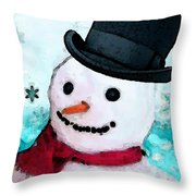 Snowman Christmas Art - Frosty Throw Pillow by Sharon Cummings