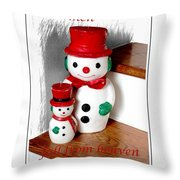Snowmen - Greetings - Happy Holidays Throw Pillow by Barbara Griffin