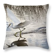 Snowy Egret Gliding Across The Water Throw Pillow by John M Bailey