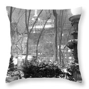 Snowy Night In Bryant Park II Throw Pillow by Miriam Cintron