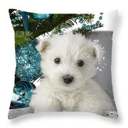 Snowy White Puppy Present Throw Pillow by Greg Cuddiford