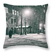 Snowy Winter Night - Sutton Place - New York City Throw Pillow by Vivienne Gucwa
