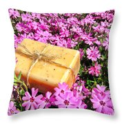 Soap On Flowers Throw Pillow by Olivier Le Queinec