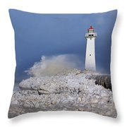 Sodus Bay Lighthouse Throw Pillow by Everet Regal