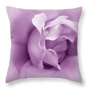 Soft Violet Rose Flower Throw Pillow by Jennie Marie Schell