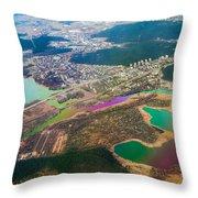 Somewhere Over Latvia. Rainbow Earth Throw Pillow by Jenny Rainbow