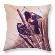 Song Of The Marsh Throw Pillow by Richard De Wolfe