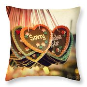 Sorry Gingerbread Throw Pillow by Jane Rix