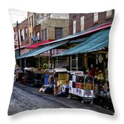 South Philly Italian Market Throw Pillow by Bill Cannon