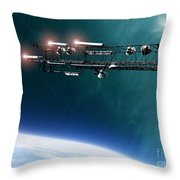 space station communications antenna Throw Pillow by Antony McAulay