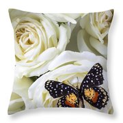 Speckled Butterfly On White Rose Throw Pillow by Garry Gay