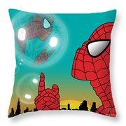 Spiderman 4 Throw Pillow by Mark Ashkenazi