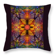 Split Crops Fractal Throw Pillow by Peggi Wolfe