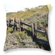 Split Rail Fence Yellow Throw Pillow by Barbara Snyder
