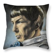 Spock - The Pain Of Loss Throw Pillow by Liz Molnar