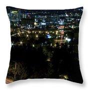 Spokane Washington Skyline At Night Throw Pillow by Daniel Hagerman