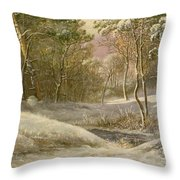 Sportsmen In A Winter Forest Throw Pillow by Pieter Gerardus van