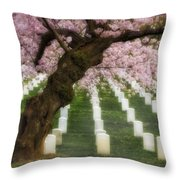 Spring Arives At Arlington National Cemetery Throw Pillow by Susan Candelario