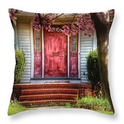 Spring - Door - Westfield Nj - Pink Throw Pillow by Mike Savad