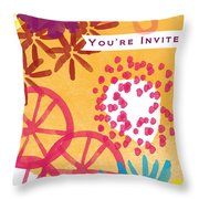 Spring Floral Invitation- Greeting Card Throw Pillow by Linda Woods