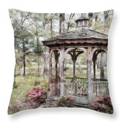 Spring Gazebo Painteffect Throw Pillow by Debbie Portwood