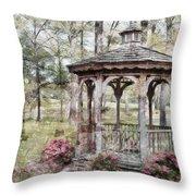 Spring Gazebo Painteffect Throw Pillow by Debbie Portwood
