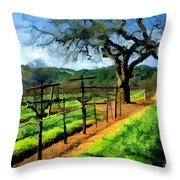Spring In The Vineyard Throw Pillow by Elaine Plesser