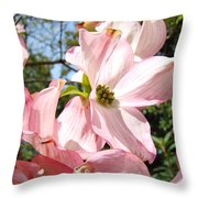 Spring Pink Dogwood Floral Art Prints Flowers Throw Pillow by Baslee Troutman