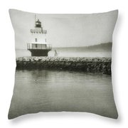 Spring Point Ledge Light Throw Pillow by Joan Carroll