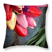 Spring Tulips Throw Pillow by Edward Fielding