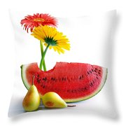 Spring Watermelon Throw Pillow by Carlos Caetano