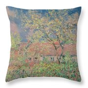 Springtime At Giverny Throw Pillow by Claude Monet