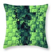Square Mania - Old Man - Limeblue Throw Pillow by Emerico Imre Toth