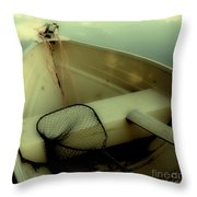 Square Polaroid Fishing Boat Throw Pillow by Birgit Tyrrell