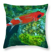 Squirrel Fish Throw Pillow by John Malone