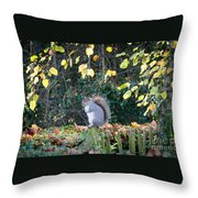 Squirrel Perched Throw Pillow by Matt Malloy