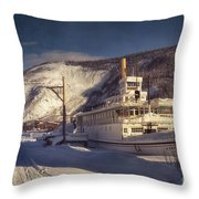 S.s. Keno Sternwheel Paddle Steamer Throw Pillow by Priska Wettstein