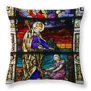 St Augustine By The Sea Shore Talking To A Child Throw Pillow by Christine Till