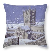 St David S Cathedral In The Snow Throw Pillow by Huw S Parsons