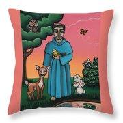 St. Francis Animal Saint Throw Pillow by Victoria De Almeida