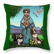St. Francis Libertys Blessing Throw Pillow by Victoria De Almeida