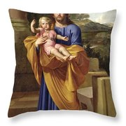 St. Joseph Carrying The Infant Jesus Throw Pillow by Pierre  Letellier