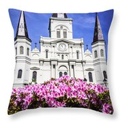 St. Louis Cathedral And Flowers In New Orleans Throw Pillow by Paul Velgos