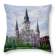 St. Louis Cathedral Throw Pillow by Dianne Parks