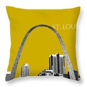 St Louis Skyline Gateway Arch - Gold Throw Pillow by DB Artist