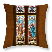 St Michael and St Raphael Throw Pillow by Christine Till