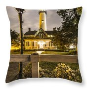 St. Simons Lighthouse Throw Pillow by Debra and Dave Vanderlaan