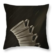 Stack Of Cups Throw Pillow by Amanda Elwell
