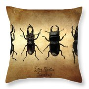 Stag Beetles Throw Pillow by Mark Rogan